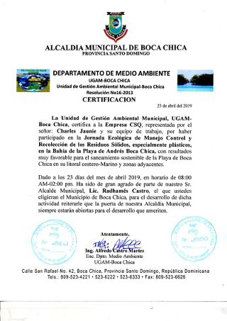 Certification for the participation in the Ecological Day of Control Management and the Collection of Plastic Waste